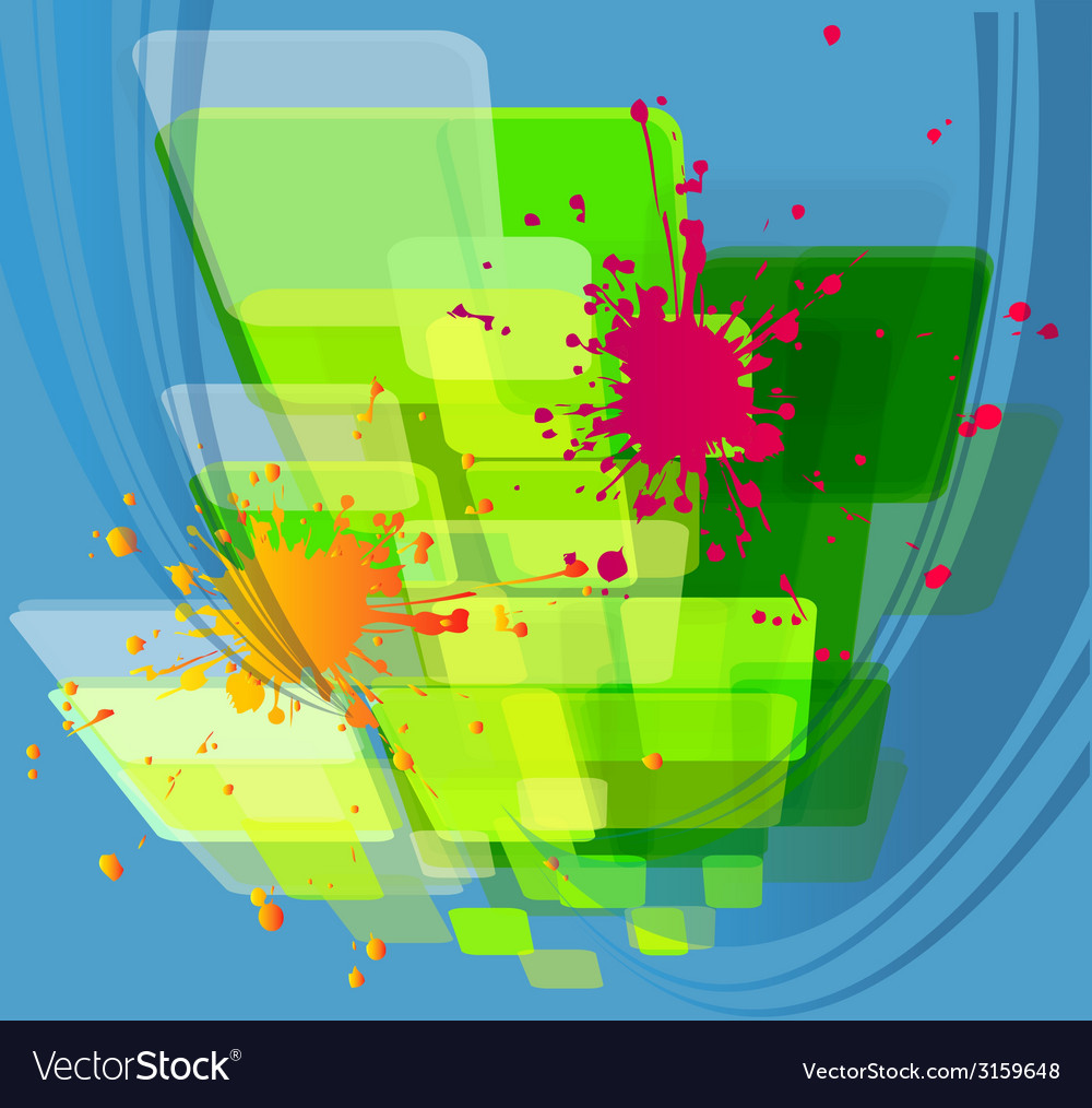Colored paint splashes bouquet isolated on blue ba vector | Price: 1 Credit (USD $1)