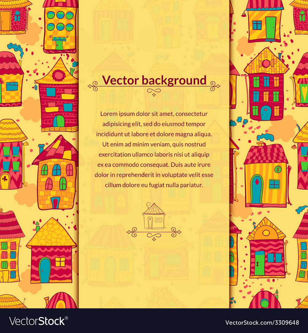 Colorful houses background with pace for text vector | Price: 1 Credit (USD $1)