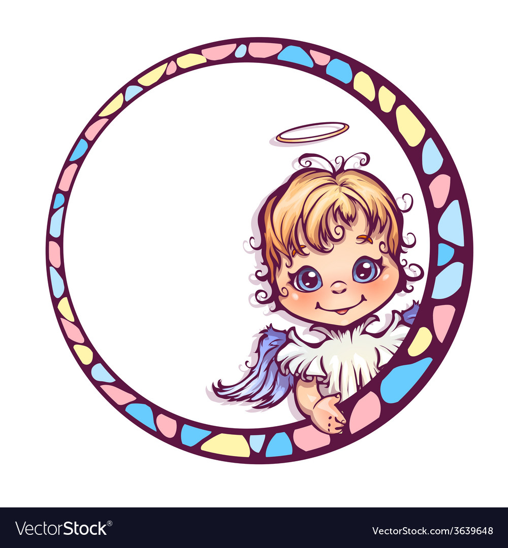 Frame with cute angel vector | Price: 3 Credit (USD $3)