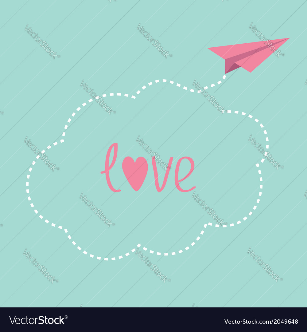 Origami paper plane dash cloud in the sky love car vector | Price: 1 Credit (USD $1)