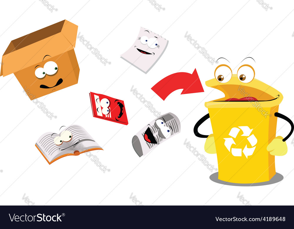 Recycling paper funny vector | Price: 1 Credit (USD $1)