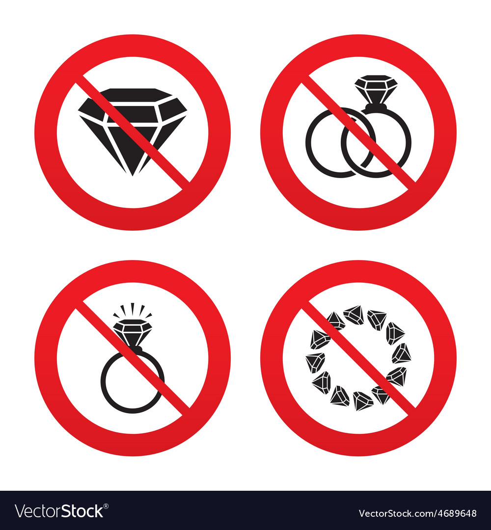 Rings icons jewelry with diamond signs vector | Price: 1 Credit (USD $1)