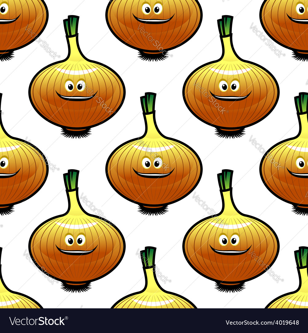 Seamless pattern with golden onion vegetable vector | Price: 1 Credit (USD $1)