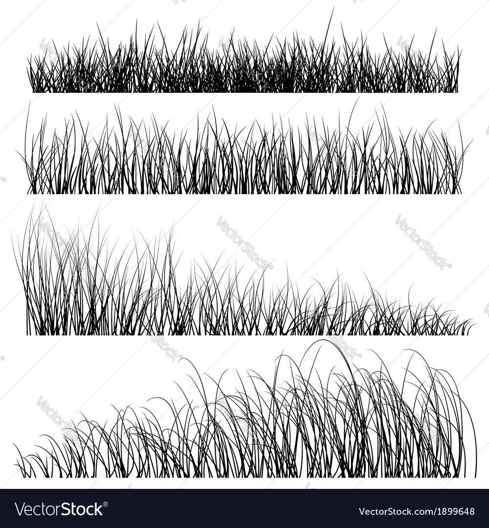 Set of grass silhouettes backgrounds vector | Price: 1 Credit (USD $1)