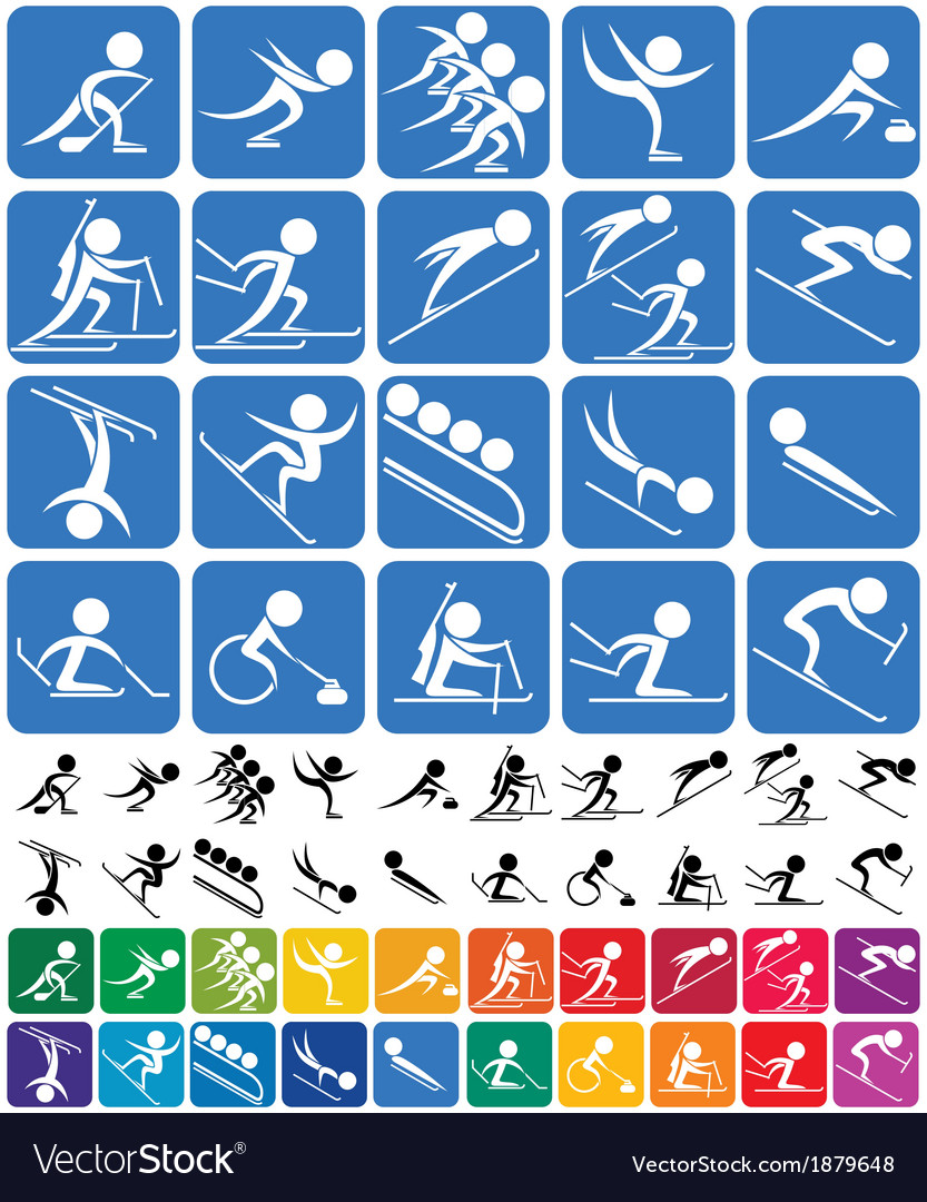 Winter sports symbols vector | Price: 1 Credit (USD $1)