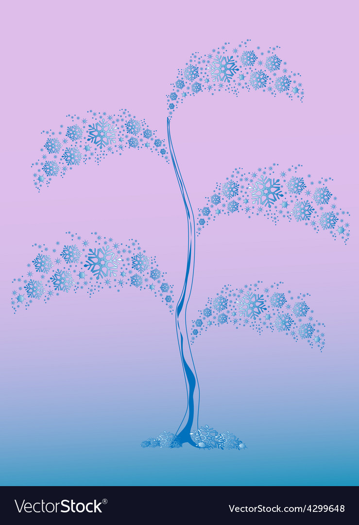 Winter tree from blue snowflakes for christmas vector | Price: 1 Credit (USD $1)