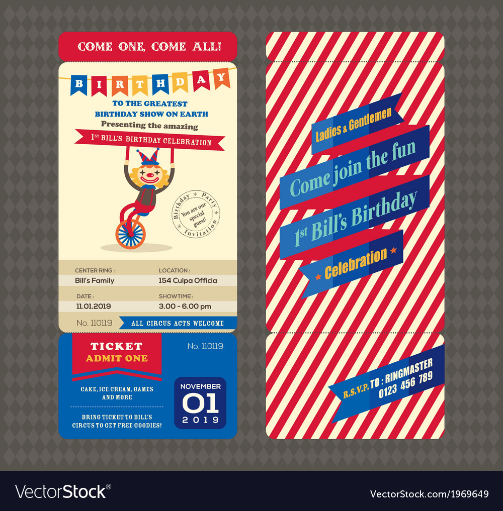 Birthday card boarding pass style vector | Price: 1 Credit (USD $1)