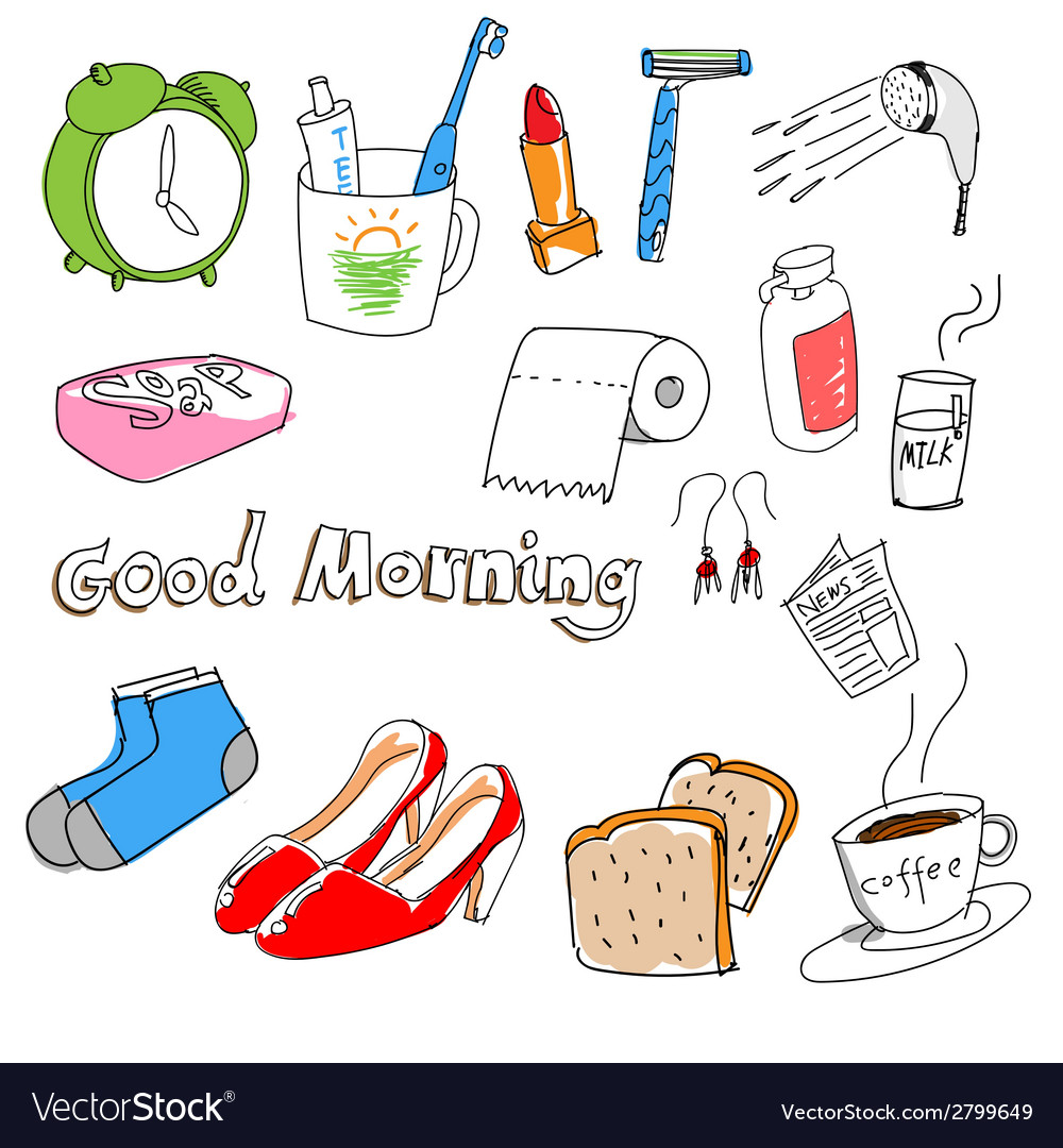 Hand-drawn stuff in the morning vector | Price: 1 Credit (USD $1)
