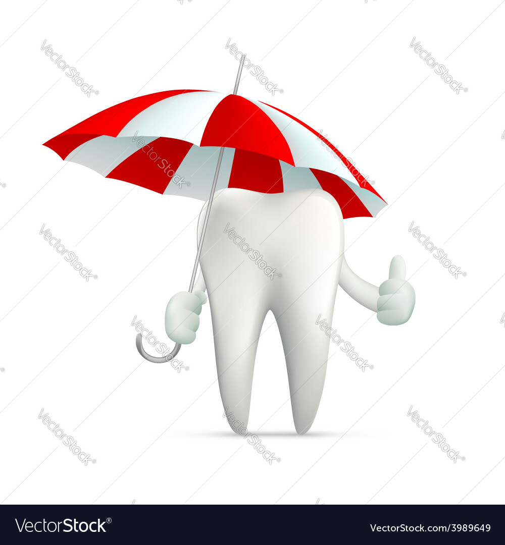 Human tooth holding an umbrella vector | Price: 1 Credit (USD $1)