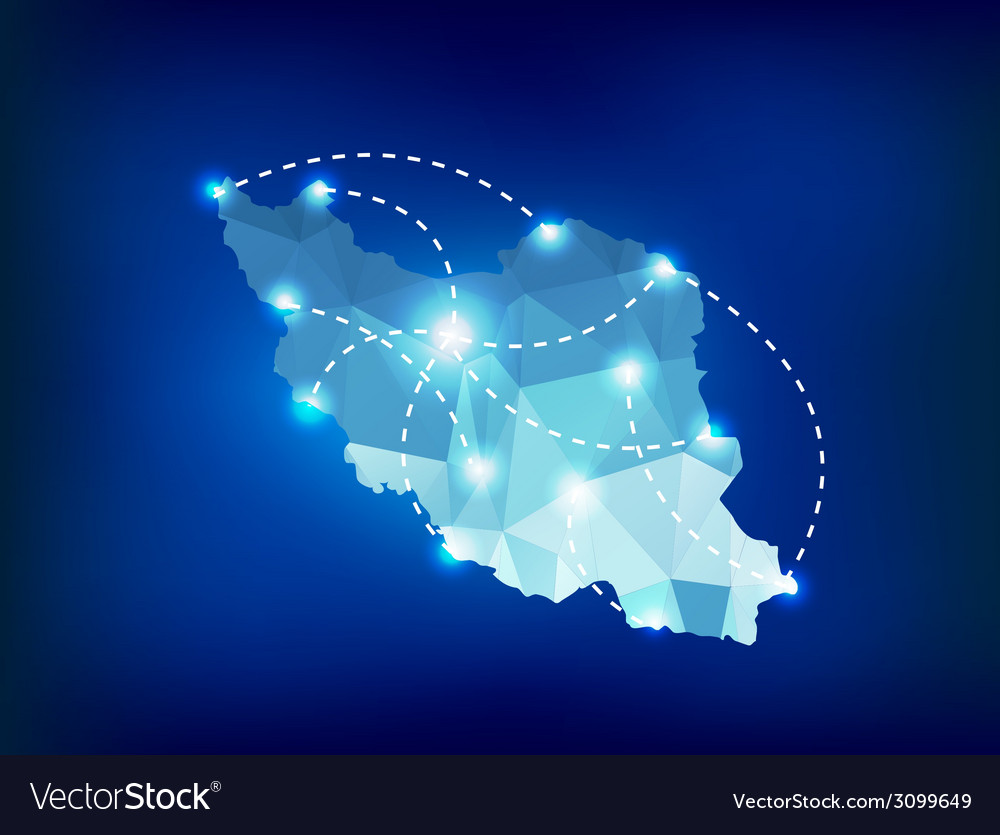 Iran country map polygonal with spot lights places vector | Price: 1 Credit (USD $1)
