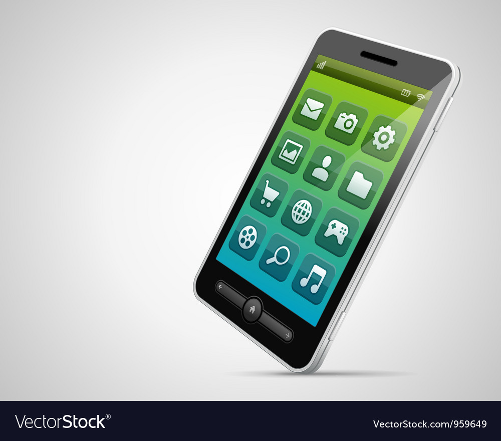 Mobile phone and icons vector | Price: 1 Credit (USD $1)