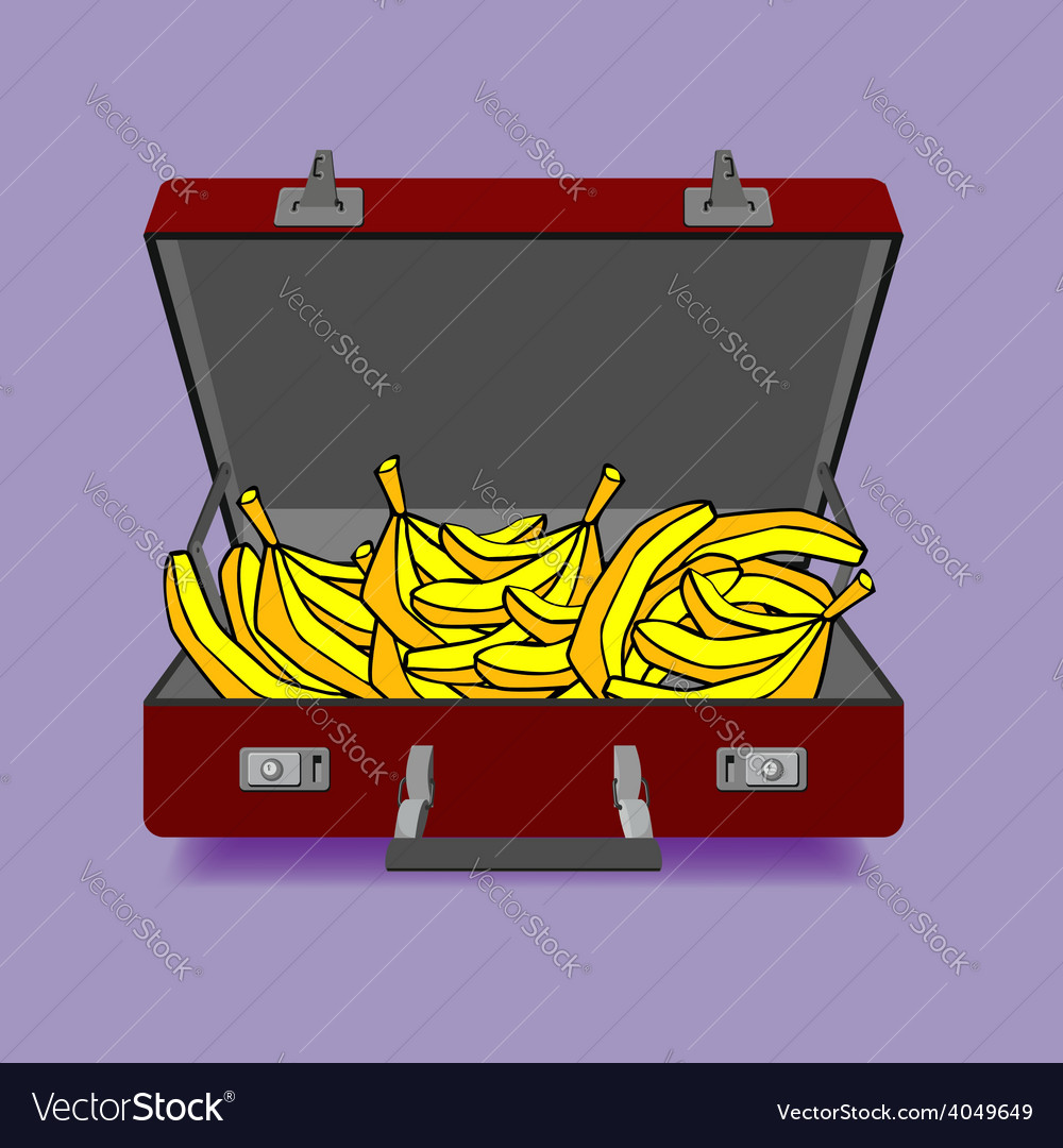 Outdoor suitcase with banana vector | Price: 1 Credit (USD $1)