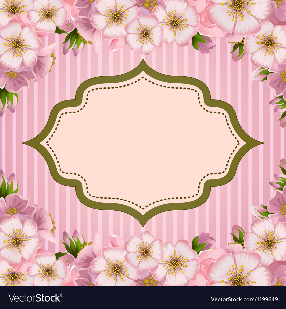 Romantic invitation card with apple flowers vector | Price: 1 Credit (USD $1)