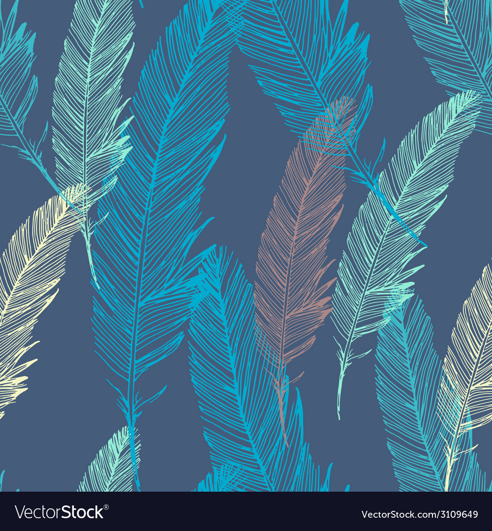Seamless pattern with feather vector | Price: 1 Credit (USD $1)