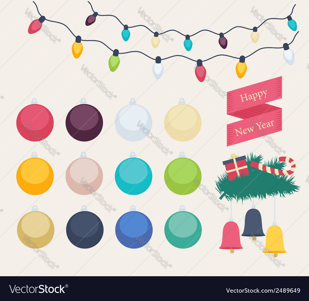 Set of colorful new year icons vector | Price: 1 Credit (USD $1)