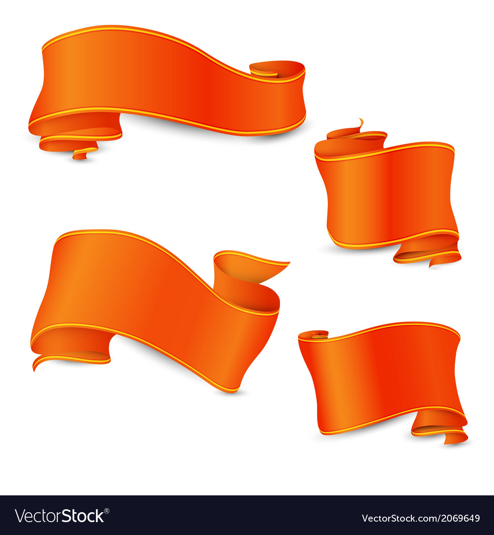 Set of the perfect orange ribbons with yellow and vector | Price: 1 Credit (USD $1)
