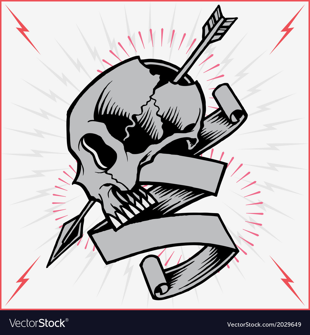 Skull arrow and ribbon vector | Price: 1 Credit (USD $1)