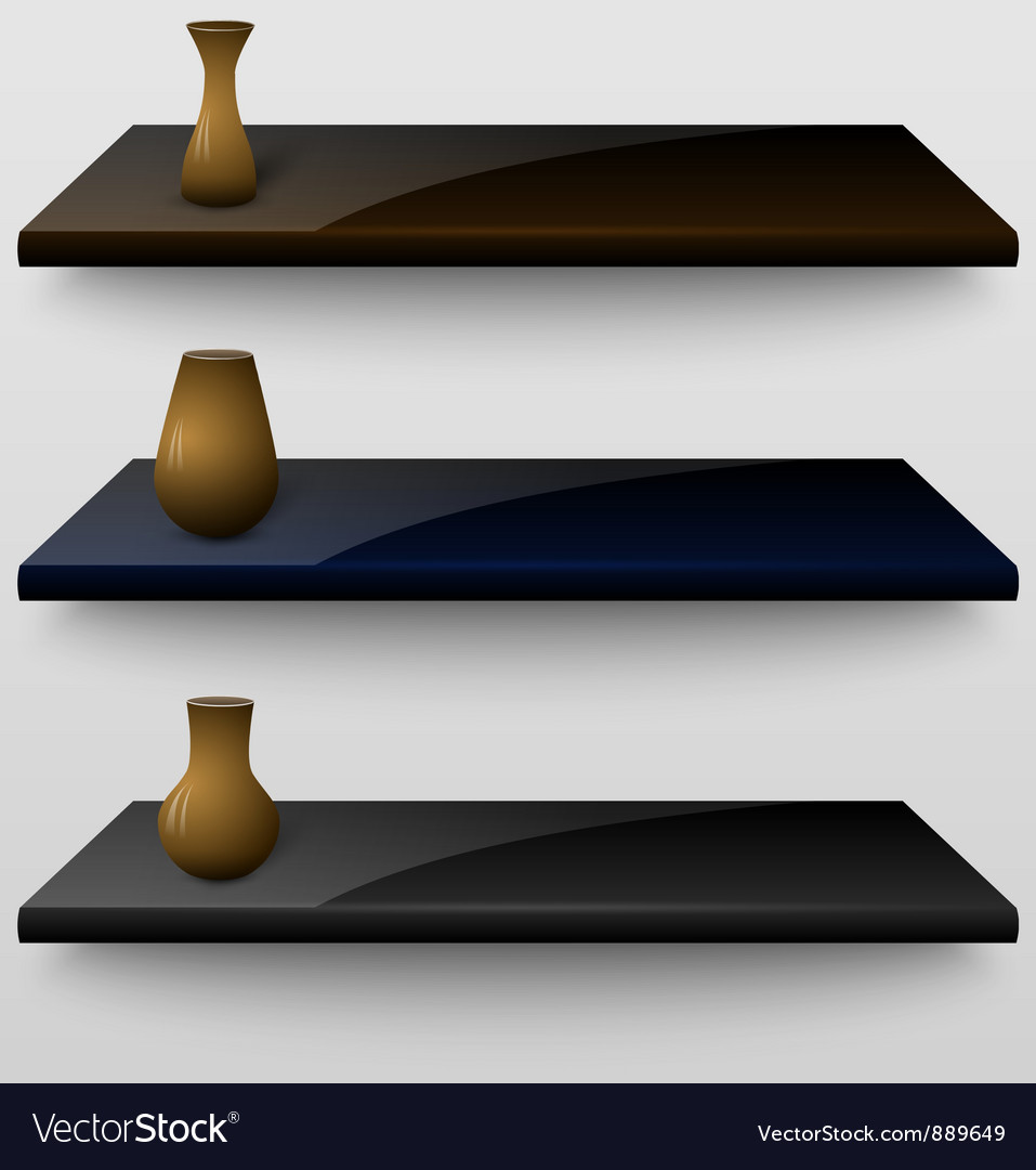 Three shelves with vases vector | Price: 1 Credit (USD $1)