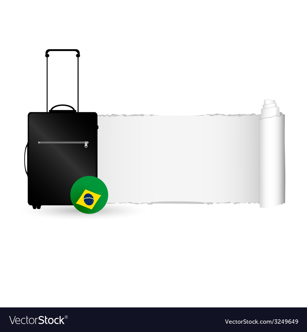 Travel bag with tearing paper color vector | Price: 1 Credit (USD $1)