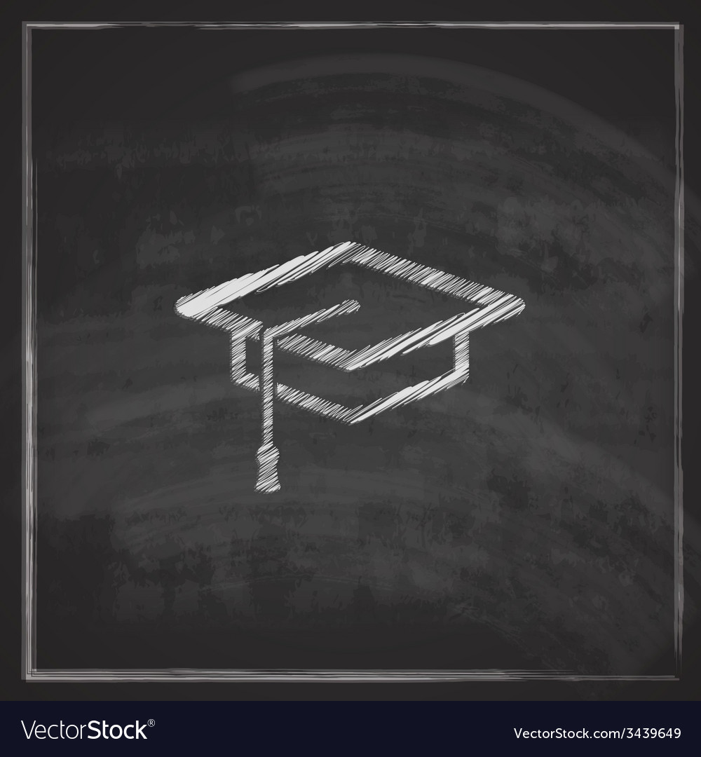 Vintage with graduation cap sign on blackboard vector | Price: 1 Credit (USD $1)