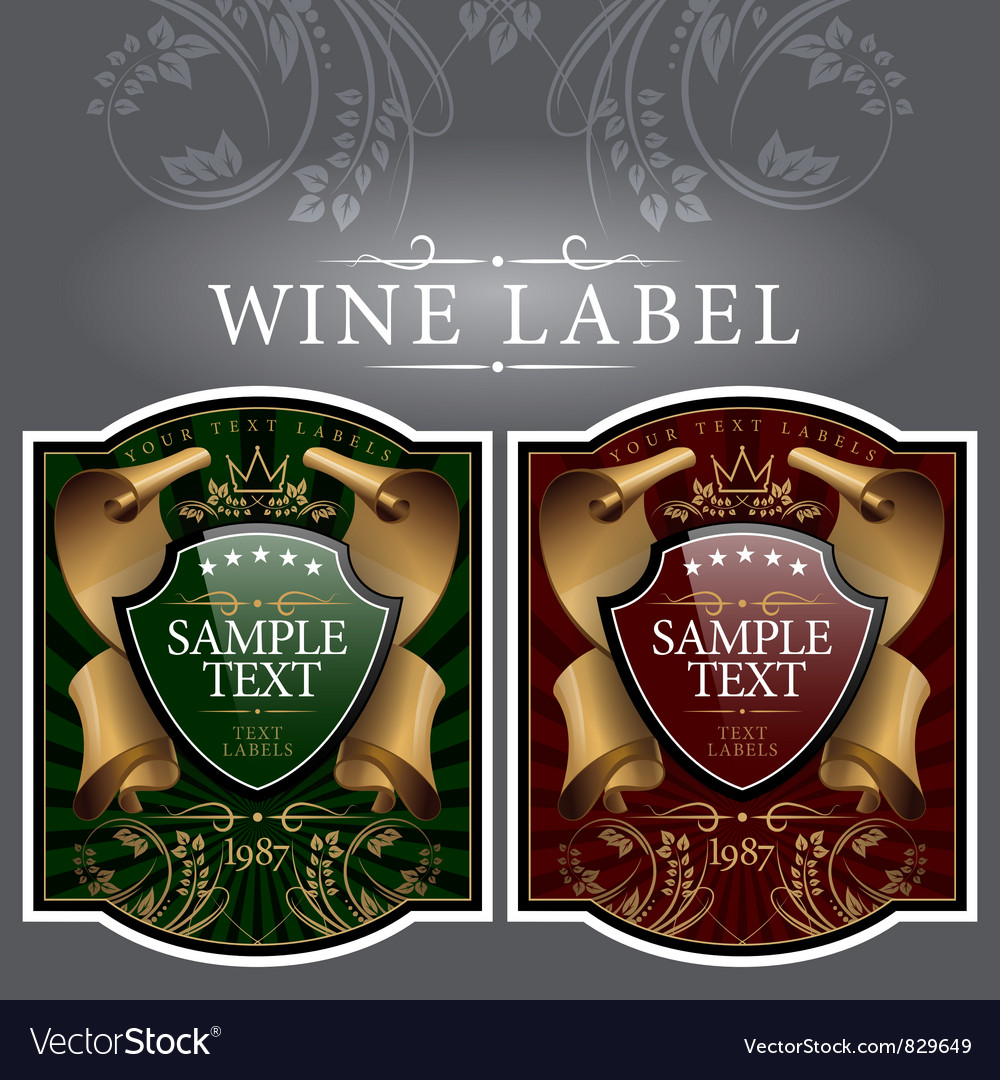 Wine label with a gold ribbon vector | Price: 1 Credit (USD $1)