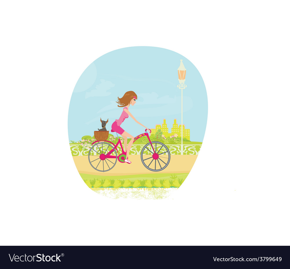 Woman riding a bike in the city vector | Price: 1 Credit (USD $1)