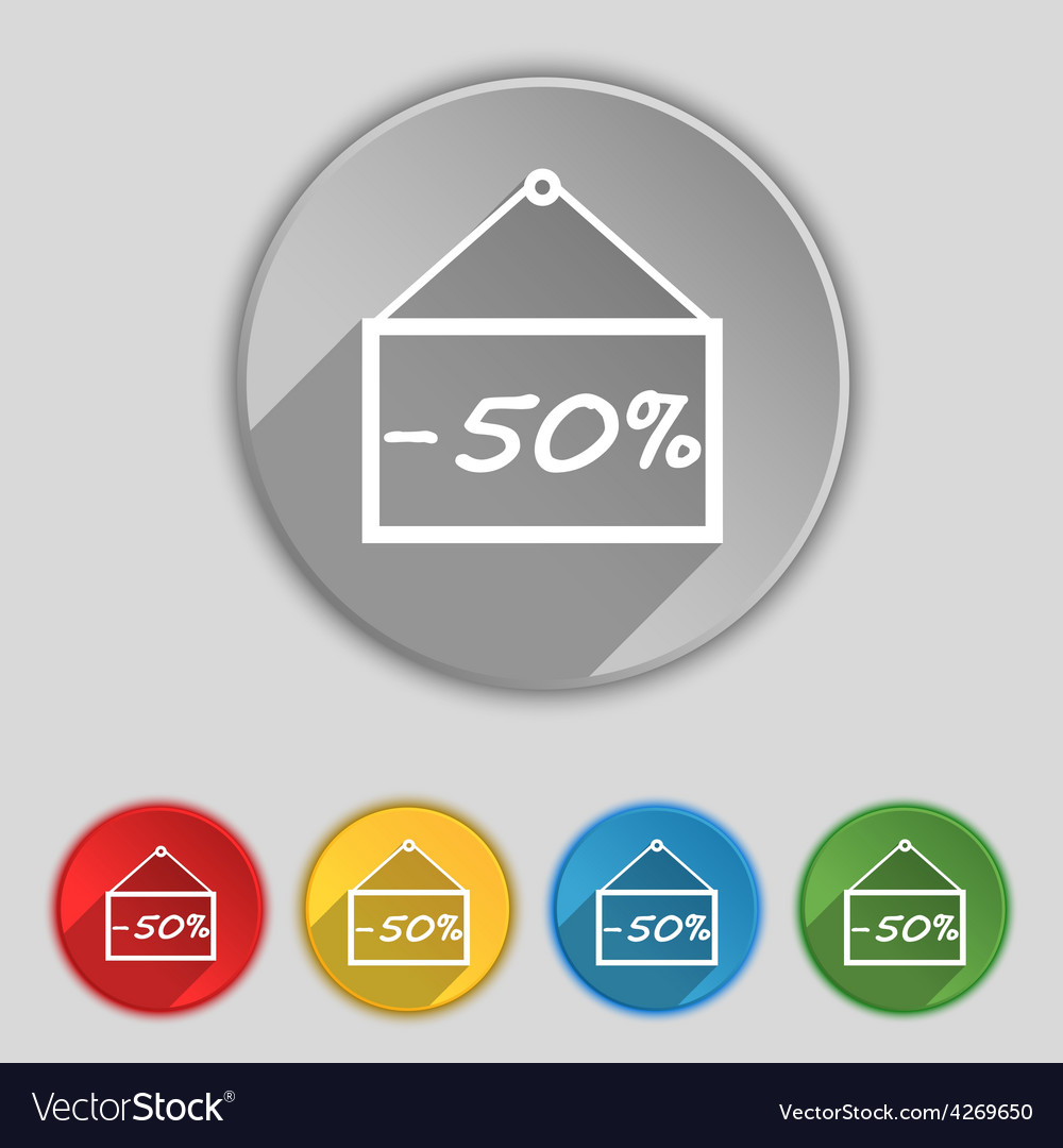 50 discount icon sign symbol on five flat buttons vector | Price: 1 Credit (USD $1)