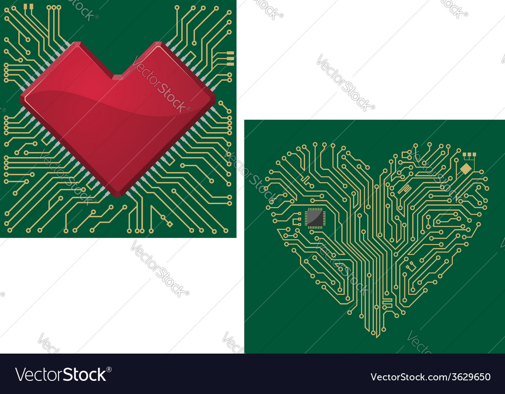 Computer motherboard with heart vector | Price: 1 Credit (USD $1)