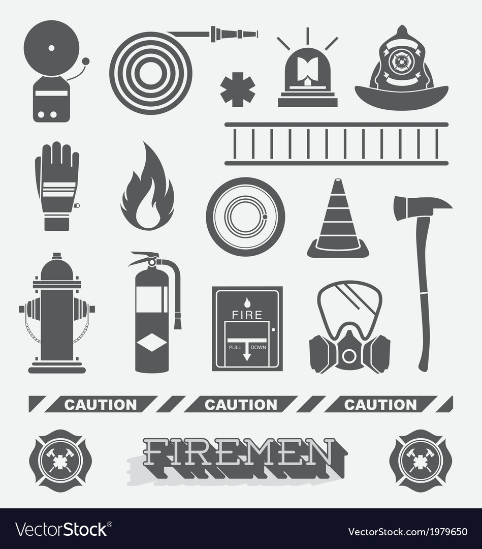 Firefighter flat icons and symbols vector | Price: 1 Credit (USD $1)