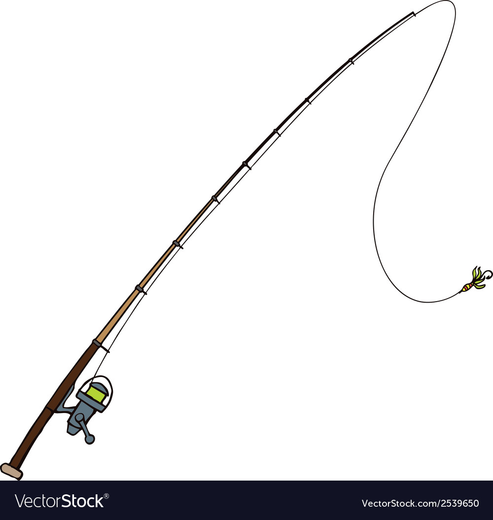 Fishing rod with fly bait  isolated on white vector | Price: 1 Credit (USD $1)
