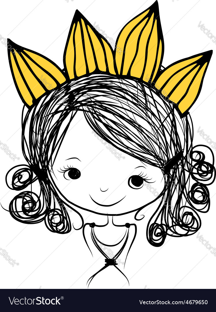 Girls princess with crown on head for your design vector | Price: 1 Credit (USD $1)