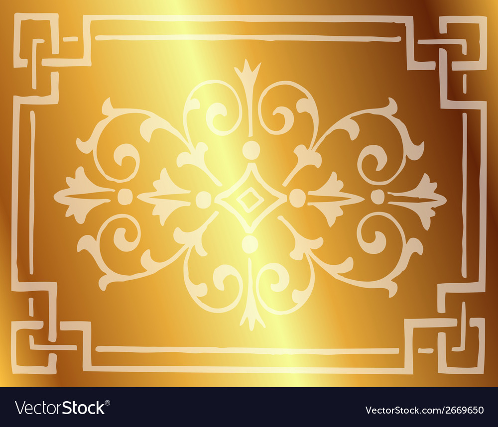 Gold background design with floral border vector | Price: 1 Credit (USD $1)