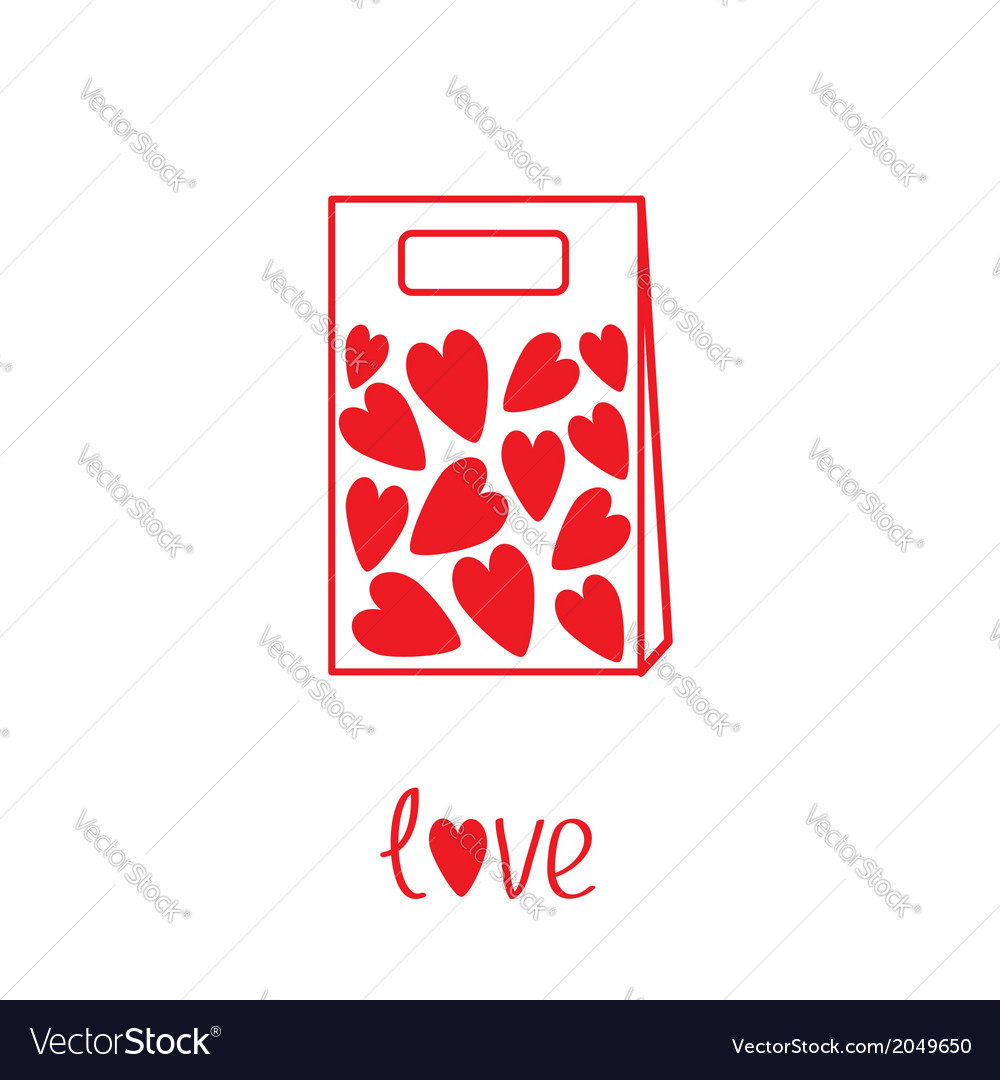 Love paper bag with hearts inside card vector | Price: 1 Credit (USD $1)