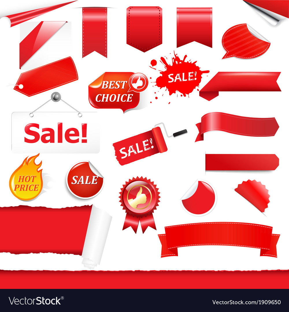 Red labels set vector | Price: 1 Credit (USD $1)