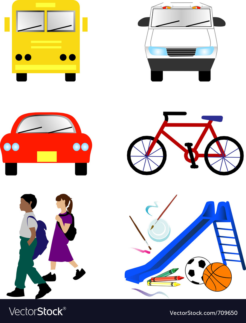 School transportation icons vector | Price: 1 Credit (USD $1)