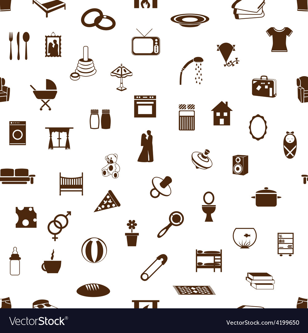 Seamless family and home pattern vector | Price: 1 Credit (USD $1)