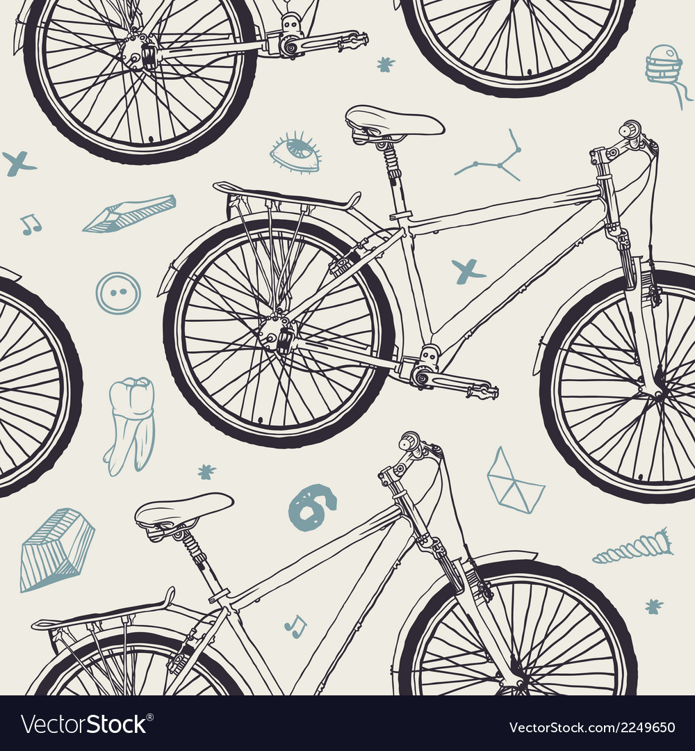 Seamless pattern with bicycle vector | Price: 1 Credit (USD $1)