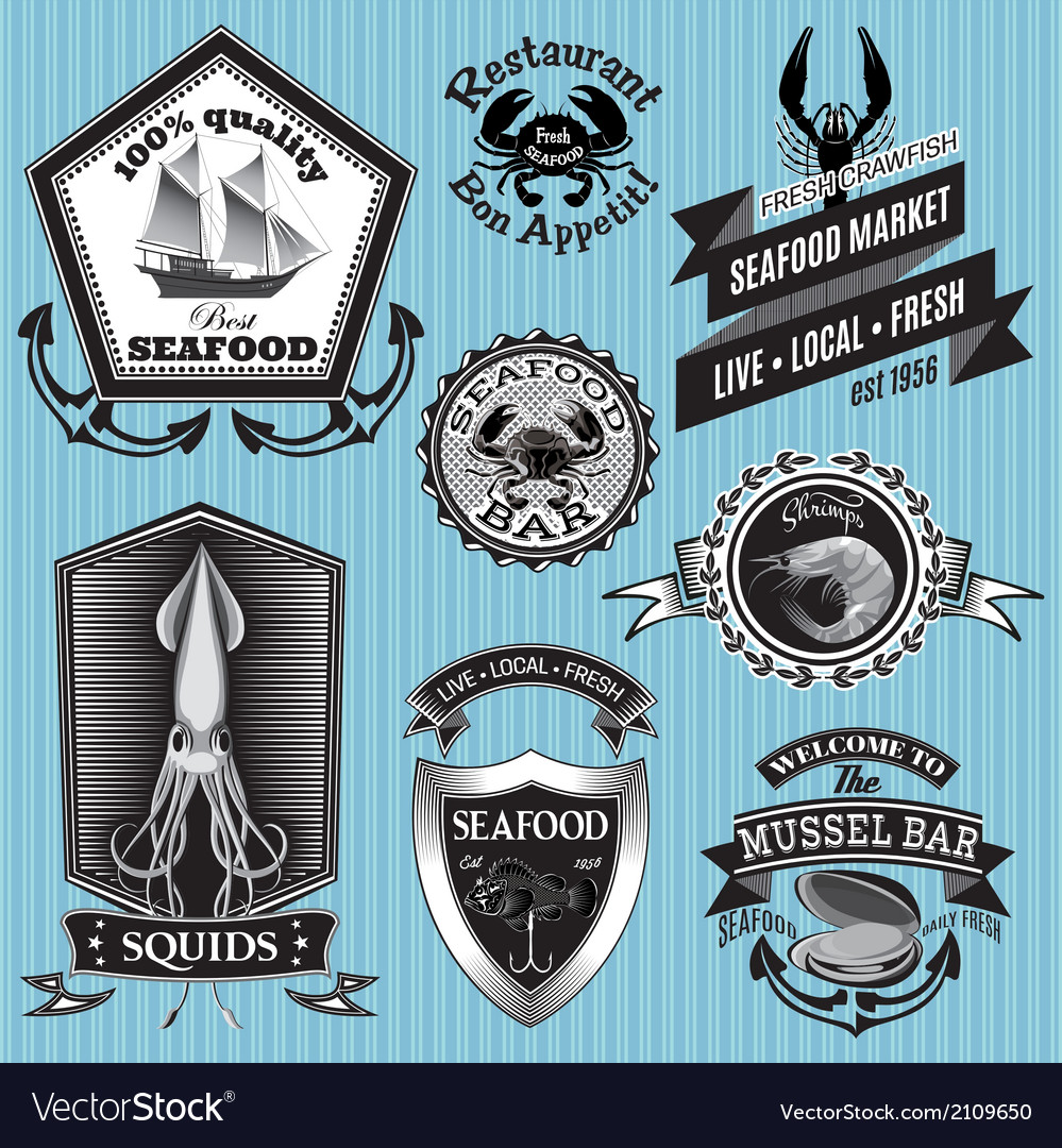 Set of labels on the topic seafood vector | Price: 1 Credit (USD $1)