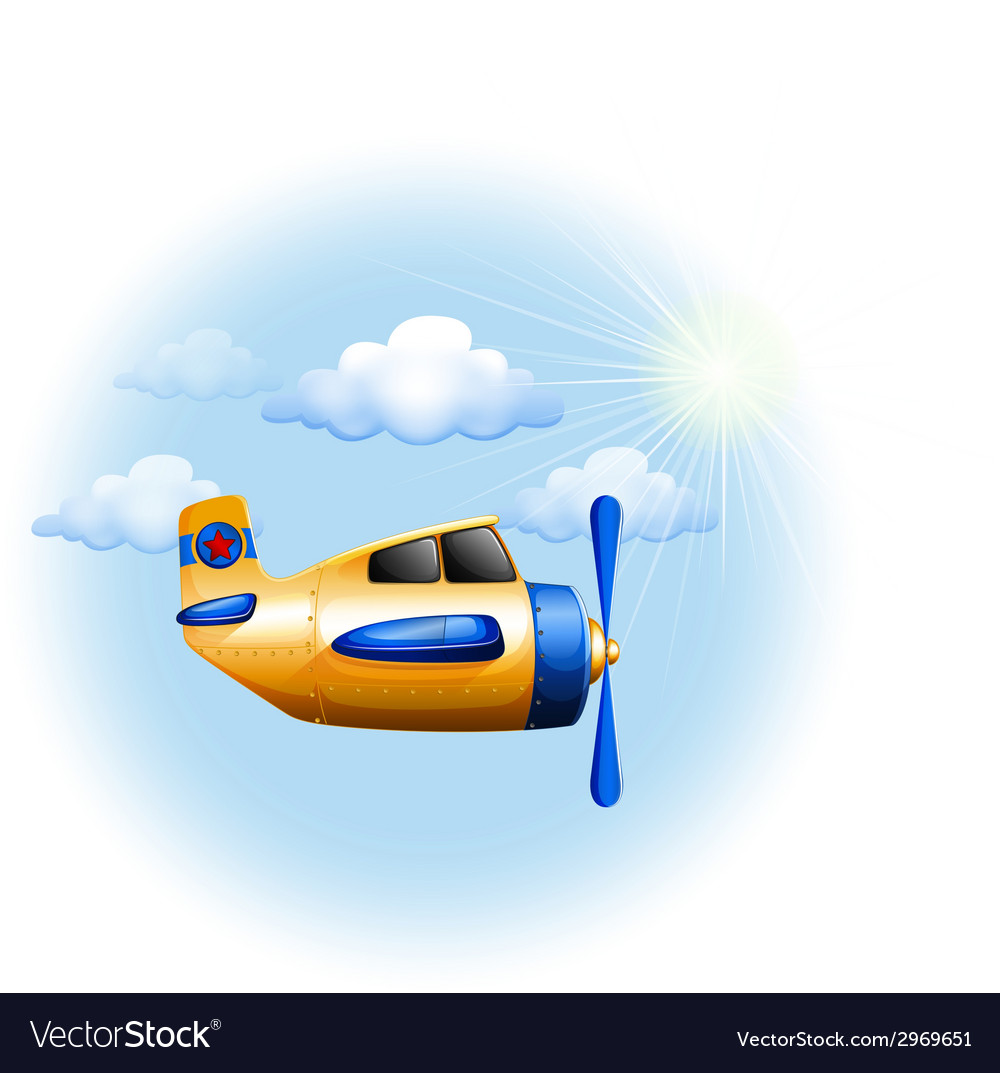 A yellow vintage plane in the sky vector | Price: 1 Credit (USD $1)