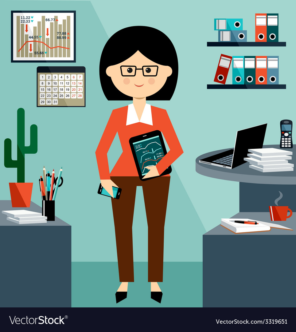 Business woman in the style flat design vector | Price: 1 Credit (USD $1)