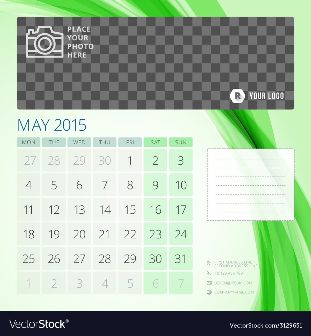 Calendar 2015 may template with place for photo vector | Price: 1 Credit (USD $1)
