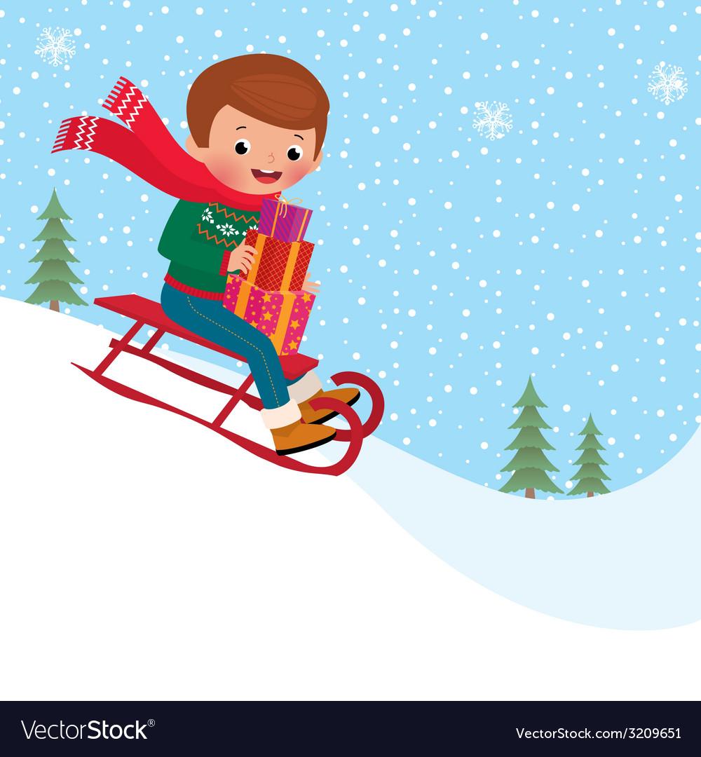 Child sledding vector