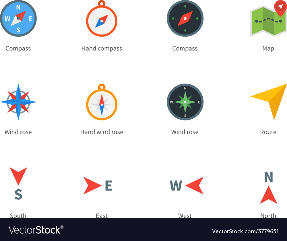 Compass and map colored icons on white background vector | Price: 1 Credit (USD $1)