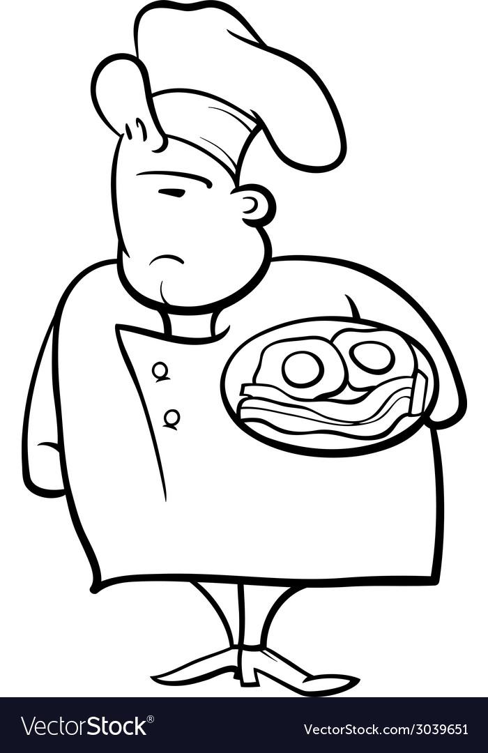 English chef cartoon coloring page vector | Price: 1 Credit (USD $1)
