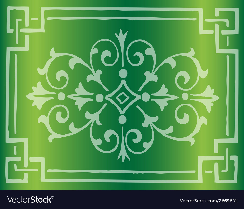 Green background design with floral border vector   Price: 1 Credit (USD $1)