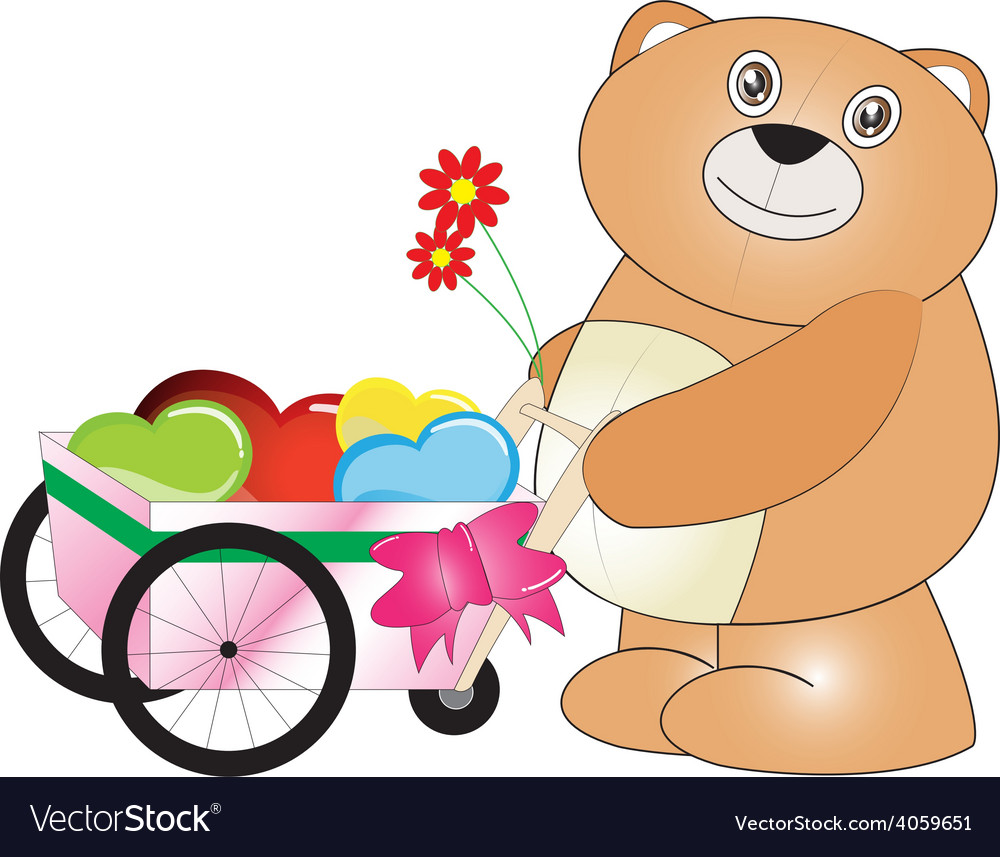 Happy teddy bear carry hearts with the wheels vector | Price: 1 Credit (USD $1)