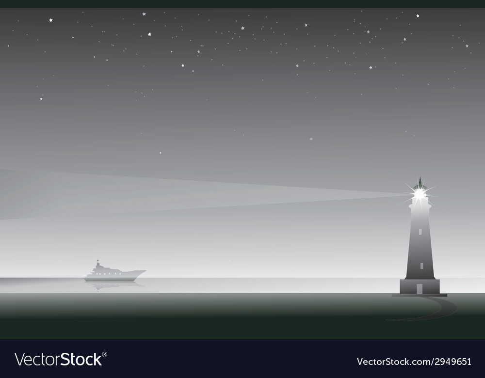 Lighthouse at night vector | Price: 1 Credit (USD $1)