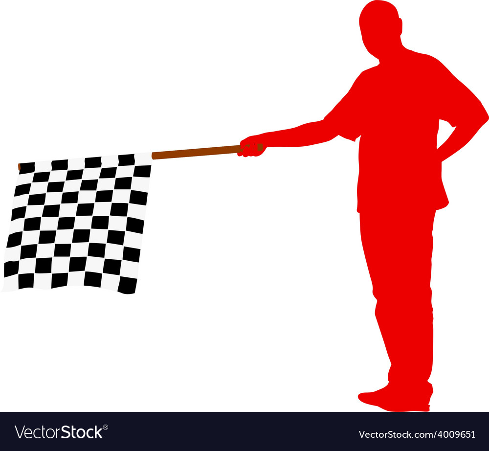 Man waving at the finish of the black white vector | Price: 1 Credit (USD $1)