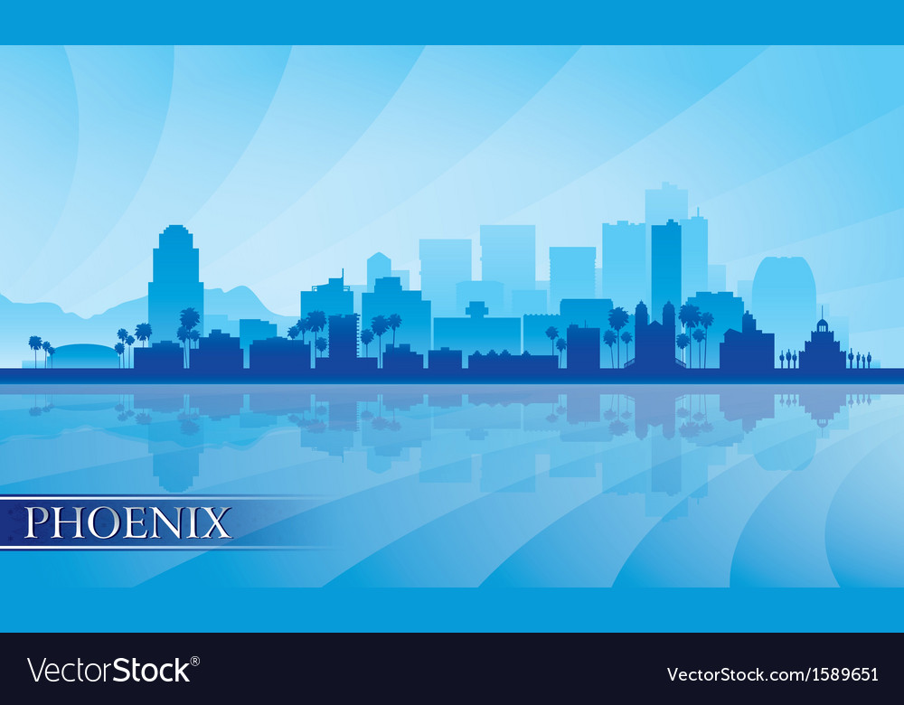 Phoenix city skyline silhouette background vector | Price: 1 Credit (USD $1)