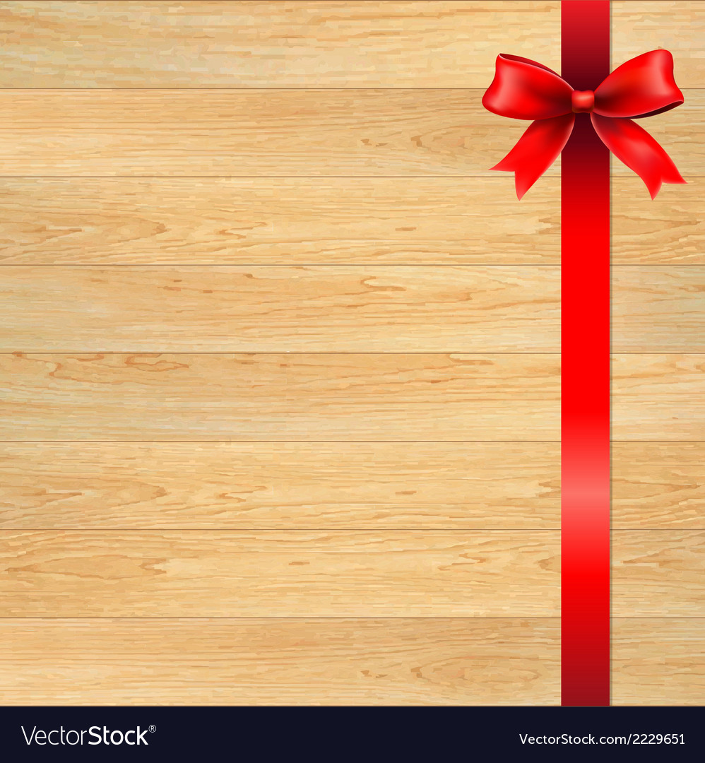 Red bow and blank gift tag with wooden wall vector | Price: 1 Credit (USD $1)